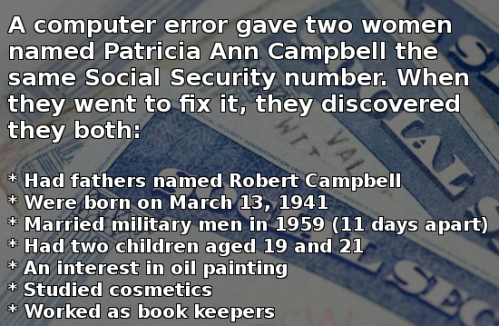 This was made for a Photoplasty, but before I posted it I found two other entries with the same information. The Freakiest (REAL) Coincidences in History
