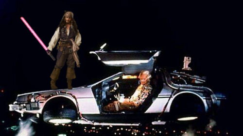 Jack Sparrow on the DeLorean from Back to the Future with a pink light saber.