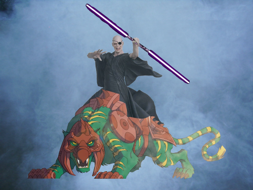 Voldemort with an eye patch and a purple light saber on Battlecat.