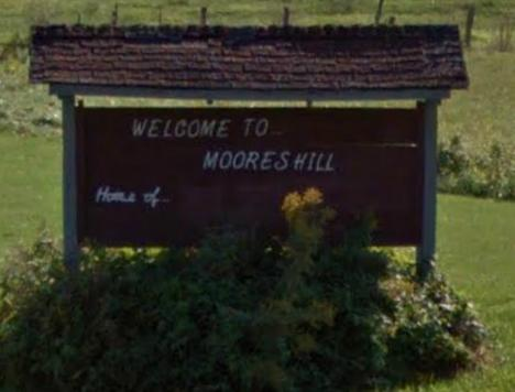 Of people who don't live in Moores Hill, an average of three see this sign on a monthly basis.