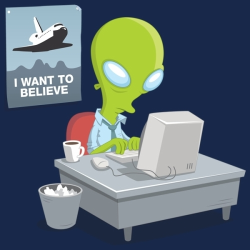 Except I DO believe. In aliens, not NASA. Buy the shirt here!!!