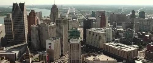 Obviously CGI. The sun hasn't shined on Detroit in over 50 years.